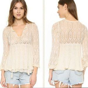 Free People layered angel keyhole knit sweater